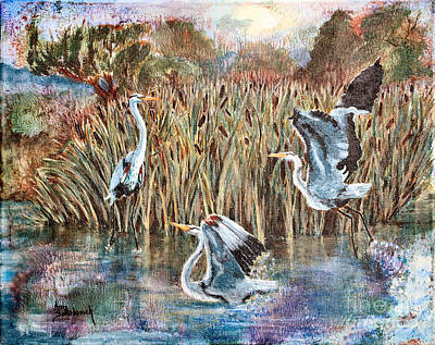 Blue Herons And Cats Print by Ann Sokolovich
