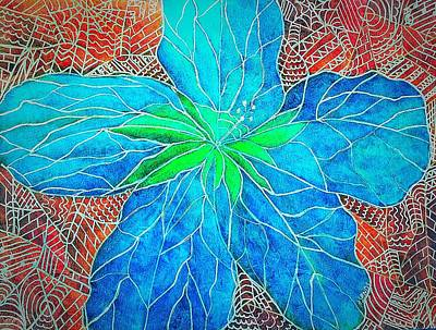 Painting - Blue Hibiscus Abstract by Anne Sands