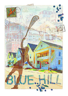 Blueberry Mixed Media - Blue Hill Village by Ernestine Grindal