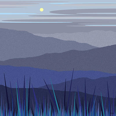 Peaceful Scene Painting - Blue Hills by Val Arie