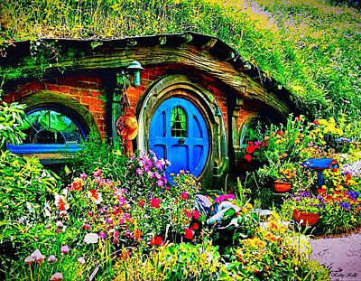 Photograph - Blue Hobbit Door by Kathy Kelly
