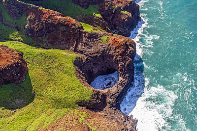 Aerial Photograph - Blue Hole Of The Na Pali by Pierre Leclerc Photography