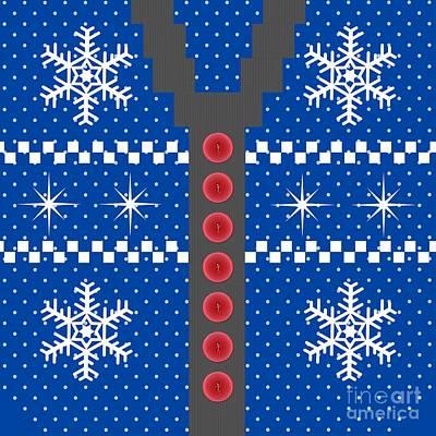 Thomas Kinkade Royalty Free Images - Blue Holiday Sweater Royalty-Free Image by Anne Kitzman