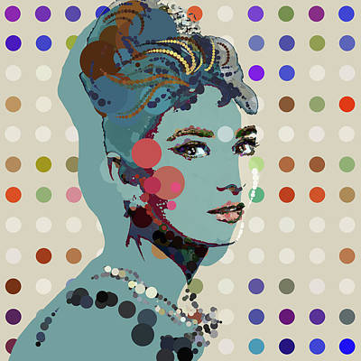 Audrey Hepburn Digital Art - Blue Holly - Audrey Hepburn Spot Painting by Big Fat Arts