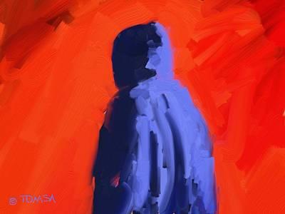 Digital Art - Blue Hoodie by Bill Tomsa