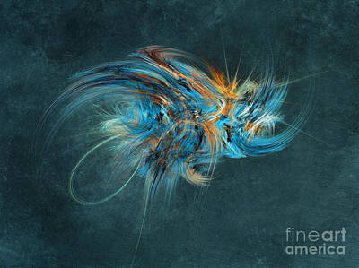 Abstraction Painting - Blue Hornet Fractal Art by Justyna JBJart