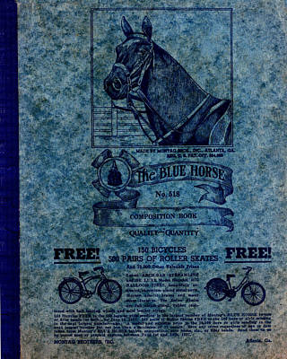 Photograph - Blue Horse Composition Book by rd Erickson
