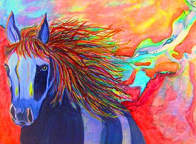 Representative Abstract Painting - Blue Horse In Red Canyon by David Raderstorf