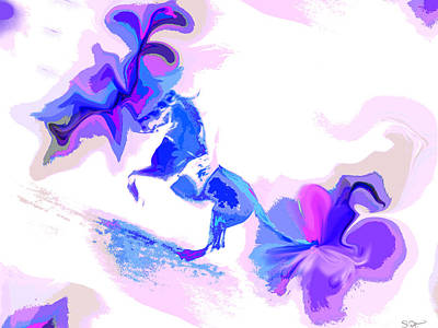 Dramatic Digital Art - Blue Horse With Flowers by Abstract Angel Artist Stephen K