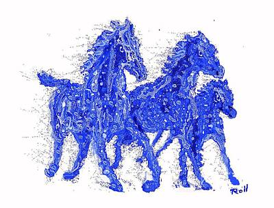 Wild Racers Mixed Media - Blue Horses by Hank Roll