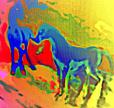 Integral Painting - Blue Horses Having A Date  by Hilde Widerberg