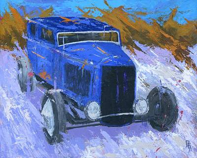 Painting - Blue Hot Rod Sedan by David King