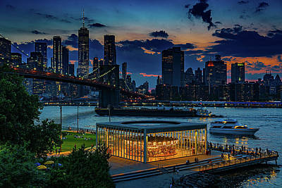 Photograph - Blue Hour At Brooklyn Bridge Park by Chris Lord