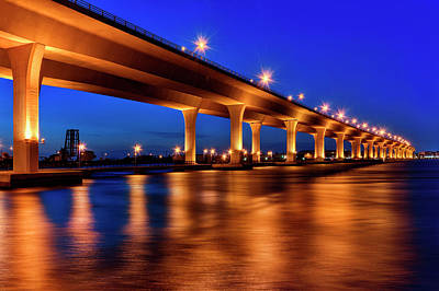 Blue Hour At Roosevelt Bridge In Stuart Florida  Art Print