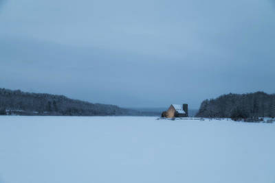 Blue Hour At The Old Stone Church Art Print