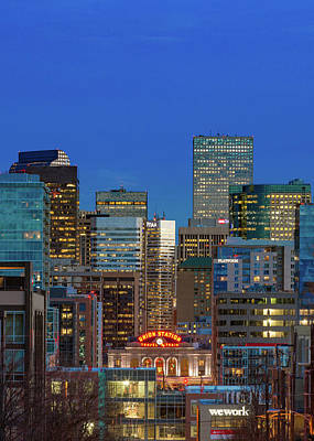 Denver Skyline Photograph - Blue Hour - Denver, Colorado by Bridget Calip