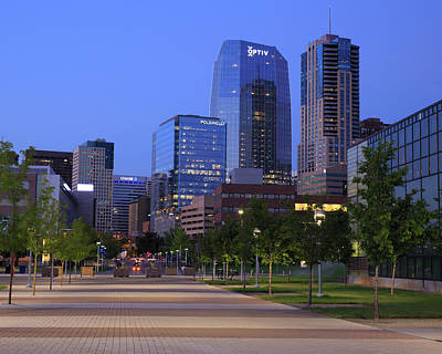 Denver Skyline Photograph - Blue Hour Falls Upon Downtown Denver by Bridget Calip