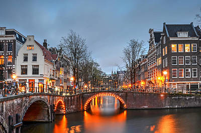 Photograph - Blue Hour In Amsterdam by Frans Blok