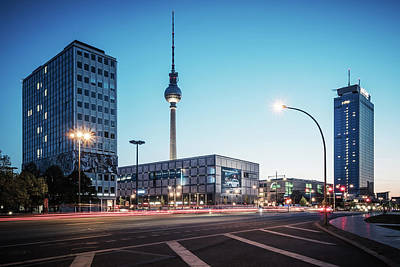 Street Photograph - Blue Hour In Berlin - Alexanderplatz Square by Alexander Voss