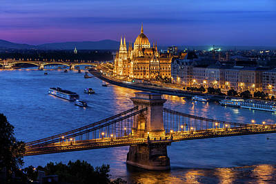 Photograph - Blue Hour In City Of Budapest by Artur Bogacki