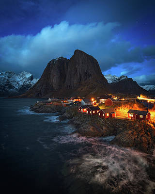Town Photograph - Blue Hour In Lofoten by Tor-Ivar Naess