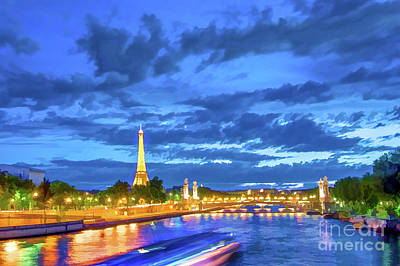 Eiffel Tower Painting - Blue Hour In Paris by Delphimages Photo Creations