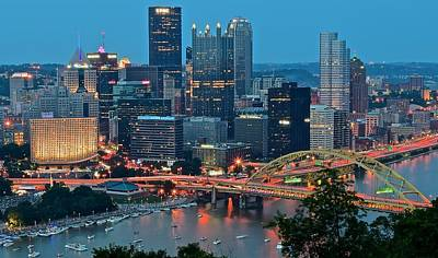 Heinz Field Photograph - Blue Hour In Pittsburgh by Frozen in Time Fine Art Photography