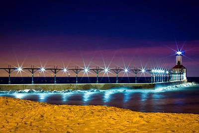 Washington Indiana Photograph - Blue Hour - Michigan City Lighthouse by Jackie Novak