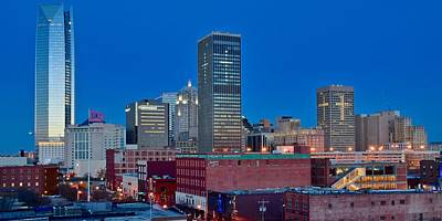 Photograph - Blue Hour Okc Panoramic View by Frozen in Time Fine Art Photography