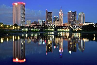 Blue Hour On The Scioto Art Print