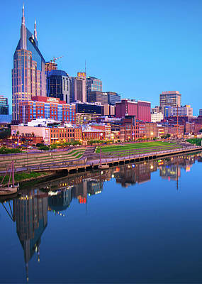 Photograph - Blue Hour Over Nashville  by Gregory Ballos