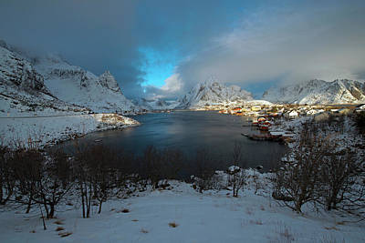 Art Print featuring the photograph Blue Hour Over Reine by Dubi Roman