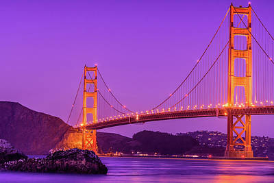 Photograph - Golden Gate Bridge In The Blue Hour by Debbie Ann Powell