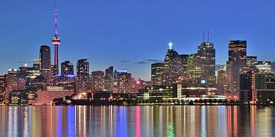 Toronto Maple Leafs Photograph - Blue Hour Pano In Toronto by Frozen in Time Fine Art Photography