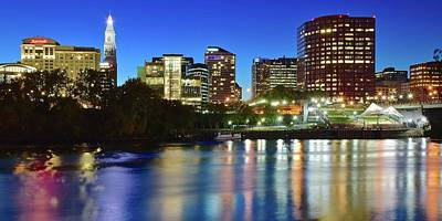Photograph - Blue Hour Pano Of Hartford by Frozen in Time Fine Art Photography