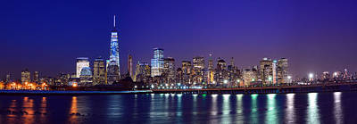 Blue Hour Panorama New York World Trade Center With Freedom Tower From Liberty State Park Art Print