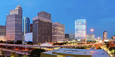 Photograph - Blue Hour Panorama Of Downtown Houston Skyline And I-45 Freeway - Harris County Texas by Silvio Ligutti