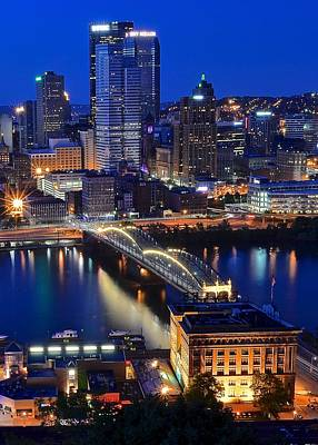 Roberto Clemente Photograph - Blue Hour Pittsburgh by Frozen in Time Fine Art Photography