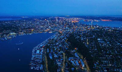 Emp Photograph - Blue Hour Seattle Aerial Cityscape by Mike Reid