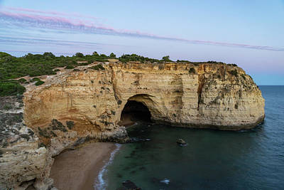 Photograph - Blue Hour With A Hint Of Pink At Vale Covo Sea Cave In Algarve Portugal by Georgia Mizuleva