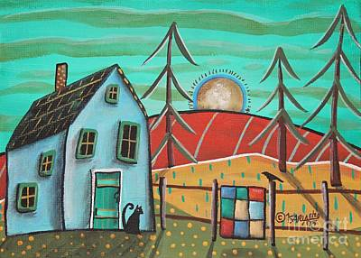 Primitive Folk Art Painting - Blue House 1 by Karla Gerard