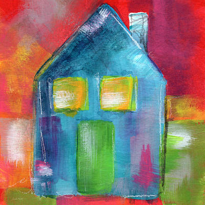 Blue House- Art By Linda Woods Print by Linda Woods
