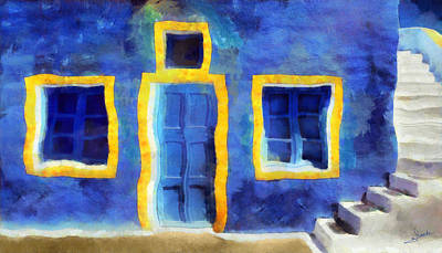 Door Painting - Blue House by George Rossidis