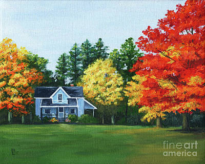 Painting - Blue House In Autumn by Lisa Norris