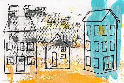 Town Painting - Blue House by Linda Woods