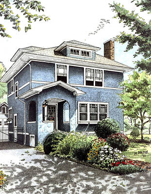 Architecture Drawing - Blue House by Mary Palmer