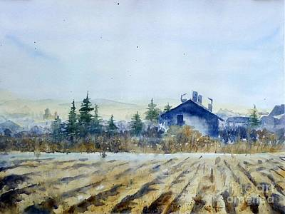 Serbia Painting - Blue House Watercolour Landscape Painting by Nenad Kojic