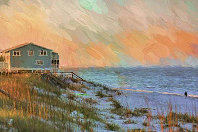 Painting - Blue House On The Beach by Jai Johnson