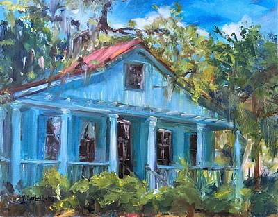 Haunted House Painting - Blue House On The Bluff by Ann Bailey