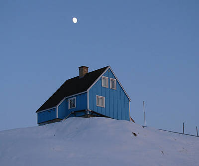 Blue House With Moon Art Print by Sidsel Genee